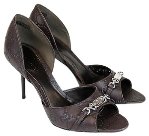 Gucci Leather Open Toe 317029 Chocolate Pumps