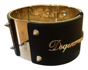 Dsquared2 DSQUARED2 Black Leather & Polished Gold Tone Spiked Cuff Bracelet