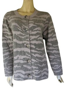 Jones New York Cardigan Knit Animal Print Sweater
