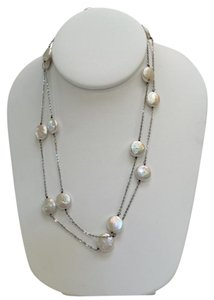 Honora Honora Sterling Silver and Freshwater Button Pearl Necklace