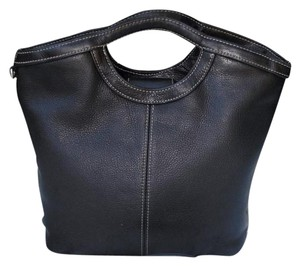 Fossil Pebbled Handle Sections Organizer Satchel in black