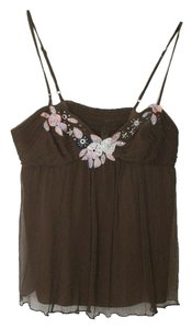 Rebecca Taylor Size 2 100% Silk Embellished Top Brown