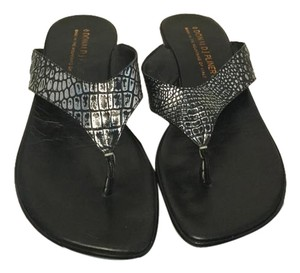 Donald J. Pliner Silver and black embossed leather thong Sandals