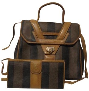 Fendi Mint Vintage Two-way Style Removable Strap Shoulder/Handheld Rare Unusual Style Satchel in browns/black wide stripes