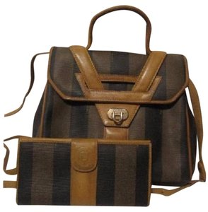 Fendi Mint Vintage Two-way Style Removable Strap Shoulder/Handheld Rare Unusual Style Satchel in Wide stripes in browns/blacks