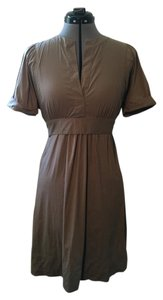 BCBGMAXAZRIA short dress khaki V-neck Empire Waist Bow on Tradesy