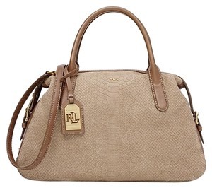 Ralph Lauren Snake-skin Leather Satchel in Porcini