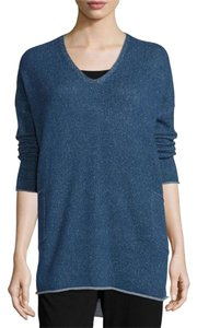 Eileen Fisher Cashmere Plaited Tunic Blue Sweater