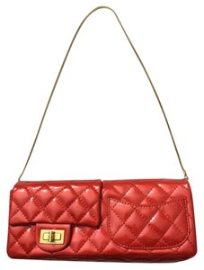Chanel Double Flap Gold Red Clutch