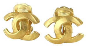 Chanel Coco CC Gold Tone Clip on Earrings