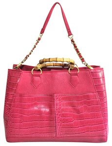 Olivia + Joy Faux Leather Vegan Bamboo Tote in Fuschia