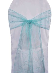 Wedding Linens Direct Pool Blue 100 Embroidered Organza Chair Sashes Reception Decoration
