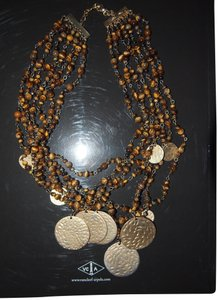 7 strand beaded with gold Necklace