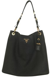Prada Gold Hardware Leather Hobo Bag