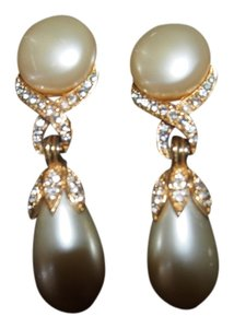 Vintage Pearl and Diamond costume Earrings