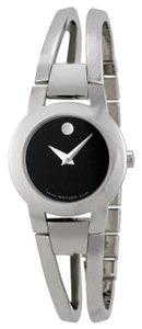 Movado Black Dial Silver Stainless Steel Bangle Designer Dress Ladies Watch