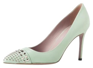 Gucci Leather Green Studded Mint Pumps
