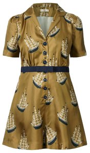 Orla Kiely Retro Nautical Sailboats Silk Dress
