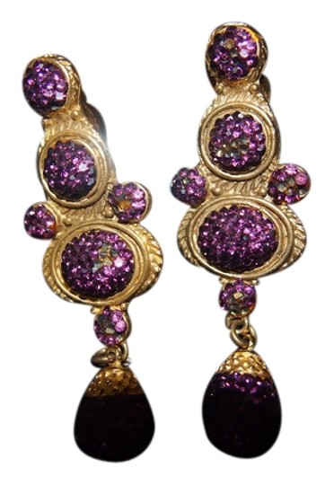 Deanna Hanro Designer Gold and amethyst Earrings