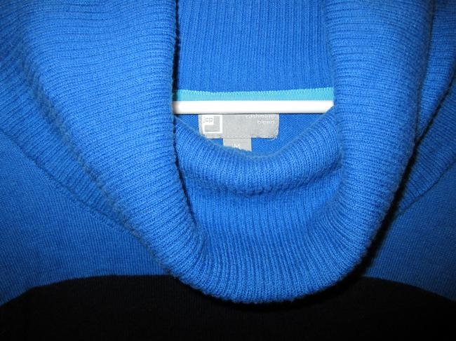 JC Penney Cashmere Blend Color-blocking Cowl Neck Washable Navy Royal Grey Striped Medium High Low Side Slits Sweater