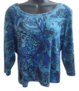 Chico's Abstract Knit Casual Top Blue