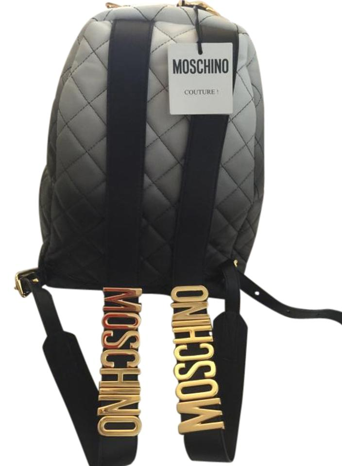 79f7af4fea Moschino Women's Quilted Letters Black/ Grey Leather Backpack - Tradesy
