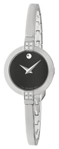 Movado Diamond Black Dial Silver Stainlss Steel Bangle Designer Ladies Watch