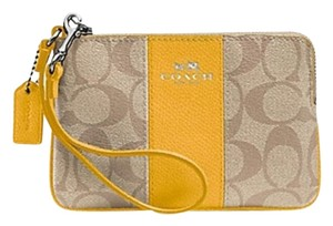 Coach Wristlet in Khaki/Yellow