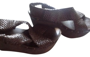JOE'S Jeans Wedge Expression Color Like New Weaved Front Espresso Brown Platforms