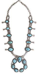 VINTAGE NATIVE AMERICAN TURQUOISE & STERLING SQUASH BLOSSOM NECKLACE