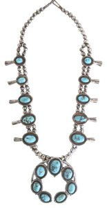 Other VINTAGE NATIVE AMERICAN TURQUOISE & STERLING SQUASH BLOSSOM NECKLACE