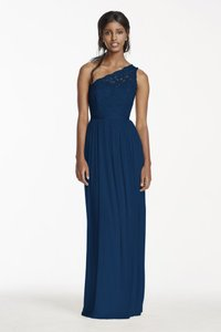 David's Bridal Marine One Shoulder David's Bridal Bridesmaid Dress Dress