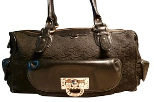 DKNY Jacquard Leather Satchel in black