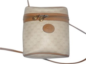 Gucci Mint Mini Bucket Satchel in camel small G logo print on ivory/camel leather