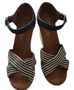 TOMS Multi Navy Stripe Wedges