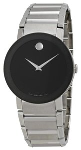 Movado Black Dial Silver Stainless Steel Designer MENS Casual Sport Watch