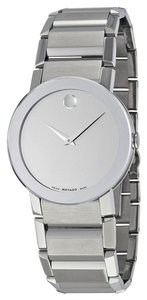 Movado Silver tone Mirror Dial Stainles Steel Designer MENS Casual Watch
