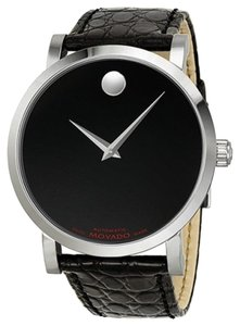 Movado Black Dial Silver tone Stainless Steel Black Embossed Leather Strap Designer MENS Dress Watch
