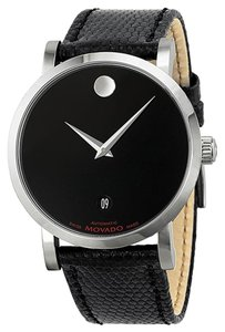Movado Embossed Black leather Strap Stainless Steel Designer MENS Watch