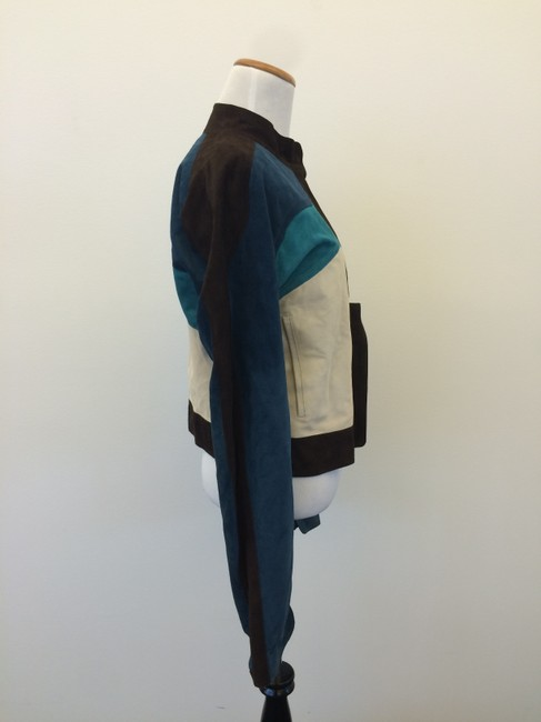 Saint Laurent Ysl Yves brown, off white, blue Leather Jacket