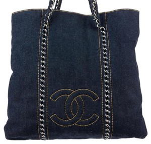Chanel Denim Gst Luxe Linge Tote in Blue