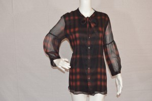 Burberry Brit Silk Longsleeve Top Brown/Red