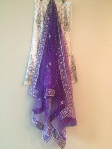 New Gold & Purple Stonework Lengha Choli Bridal Sari Salwar Heavy Work Must See! Wedding Dress