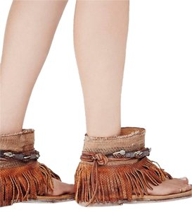 Free People Embellished Embellished Leather Tan Sandals