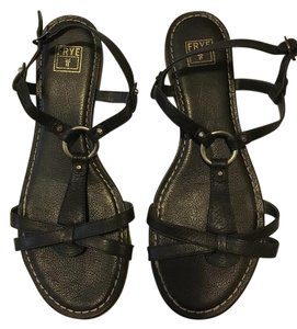 Frye Leather Flats Black Sandals