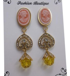 Other Pink Cameos in Ion PTD YG Stainless Steel Earrings w Free Shipping