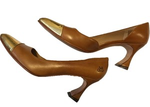 John Fluevog D'orsay Pump Toecap Metallic Tan and gold Pumps