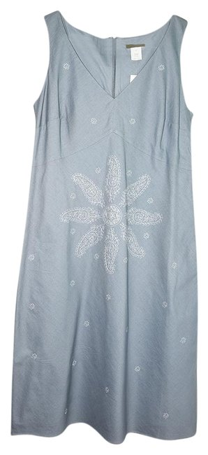 Item - Gray Embroidered A-line Mid-length Casual Maxi Dress Size 10 (M)