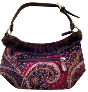 Bueno Collection Paisley Faux Fur Adjustable Strap Shoulder Bag