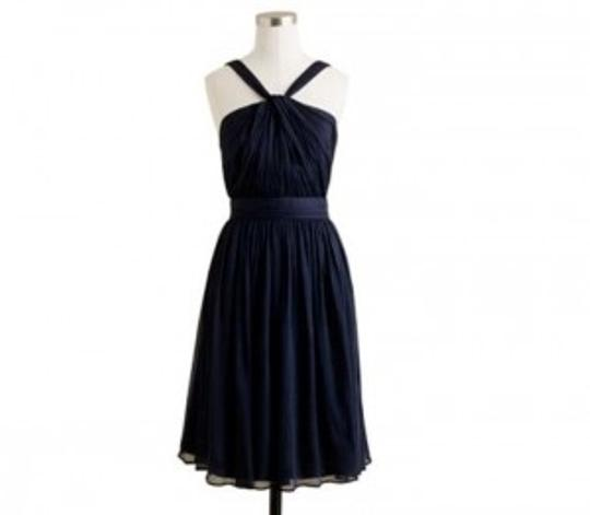 J.Crew Newport Navy Silk Chiffon Blue Sinclair In Formal Bridesmaid/Mob Dress Size 4 (S)